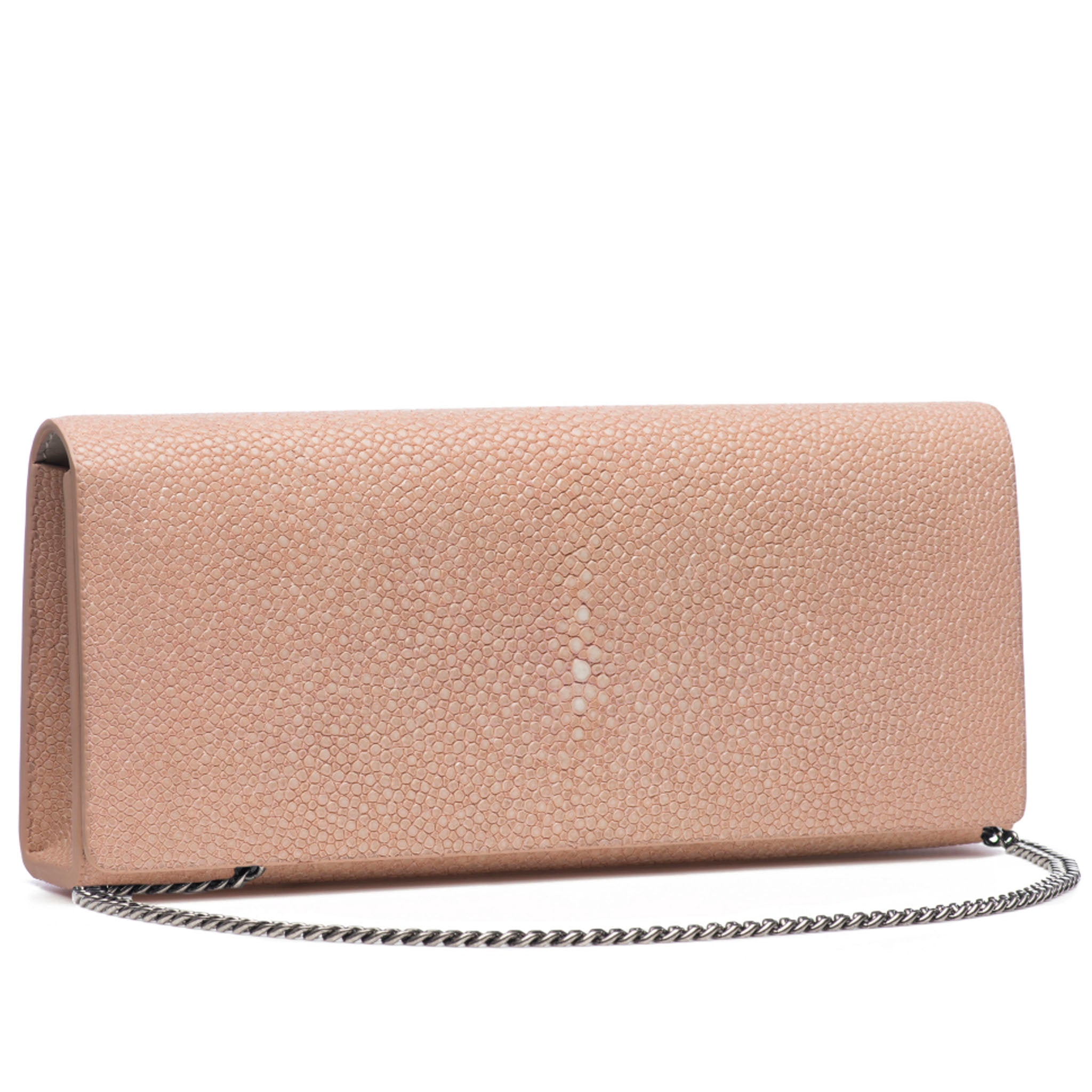 Blush Shagreen Clutch Bag Front View With Chain Cleo - Vivo Direct