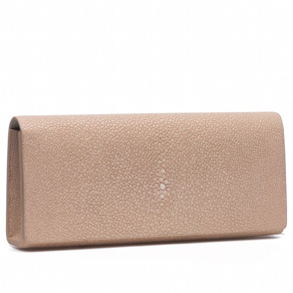 Blush Shagreen Clutch Bag Front View Cleo - Vivo Direct