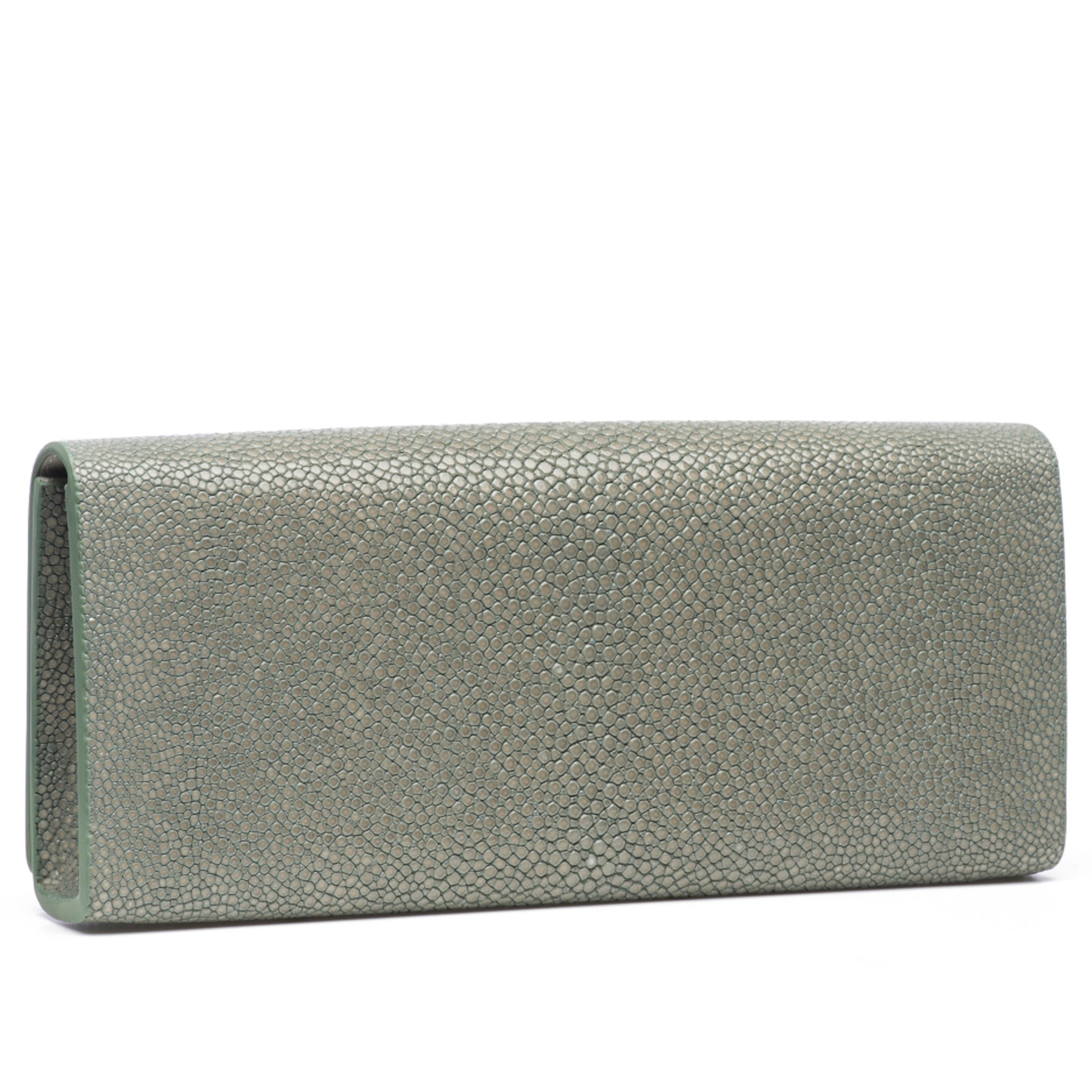Cement Shagreen Clutch Bag Back View Cleo - Vivo Direct