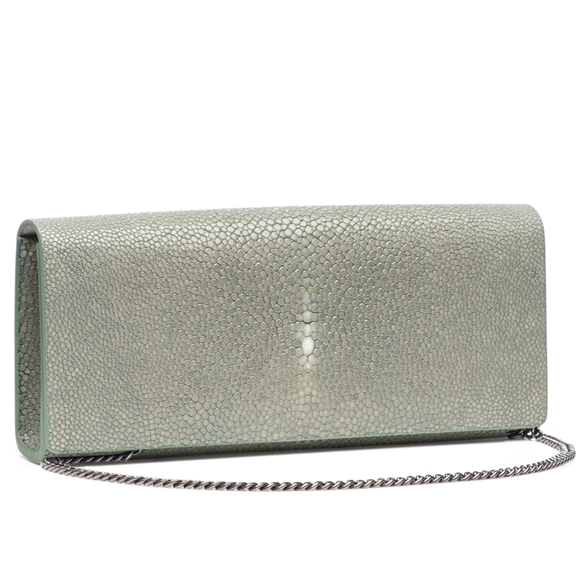 Cement Shagreen Clutch Bag Front View with Chain Cleo - Vivo Direct