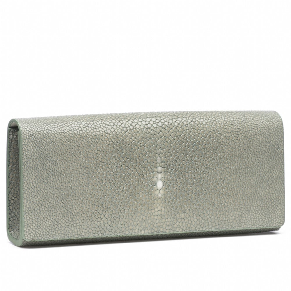 Cement Shagreen Clutch Bag Front View Cleo - Vivo Direct