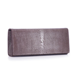 Coffee Shagreen Clutch Bag Front View Cleo - Vivo Direct