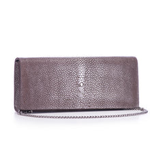 Load image into Gallery viewer, Coffee Shagreen Clutch Bag Front View With Chain Cleo - Vivo Direct