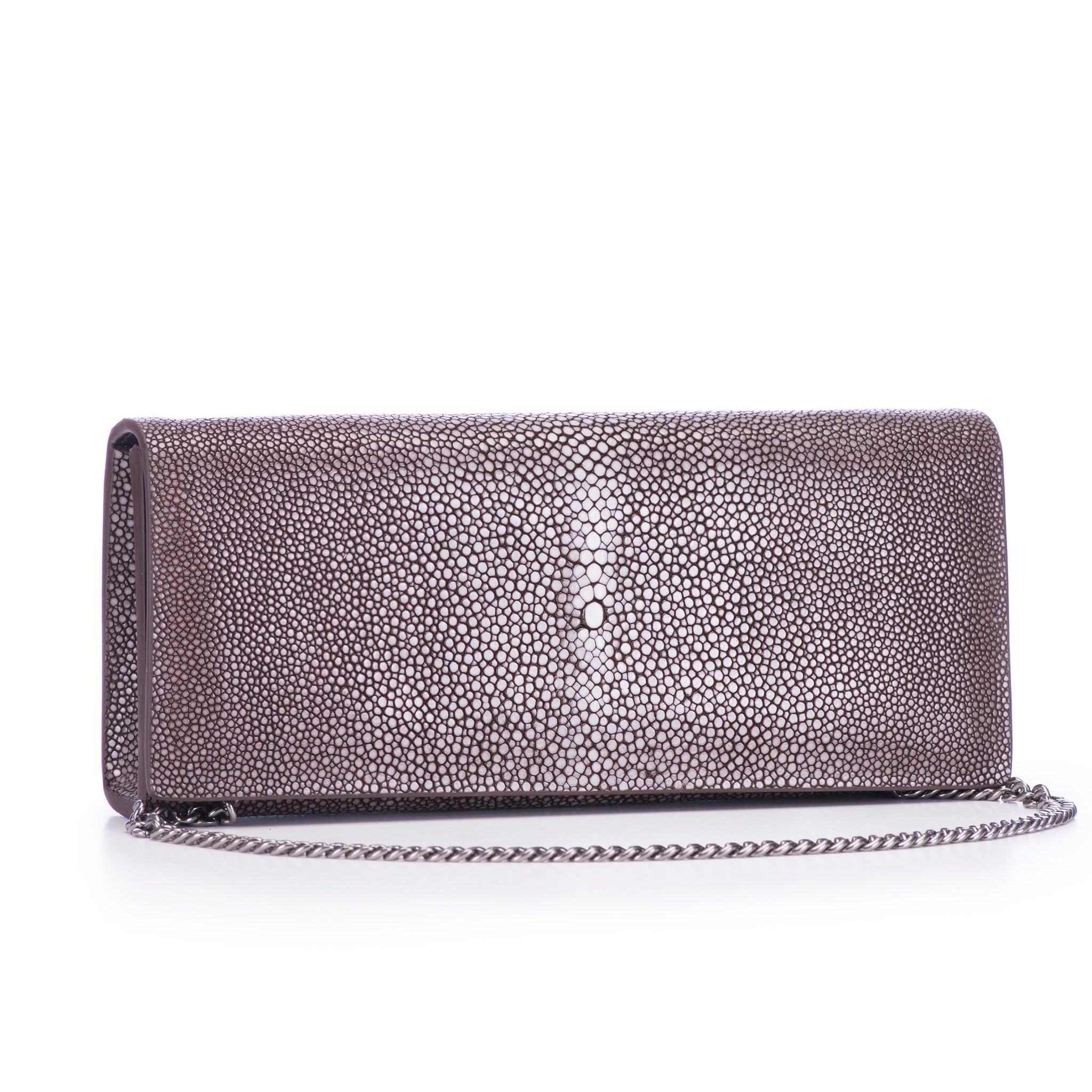 Coffee Shagreen Clutch Bag Front View With Chain Cleo - Vivo Direct
