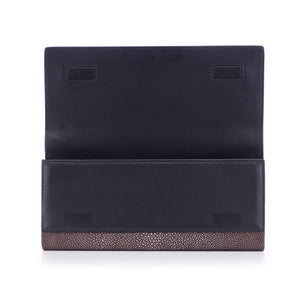 Coffee Shagreen Clutch Bag Inside View Cleo - Vivo Direct