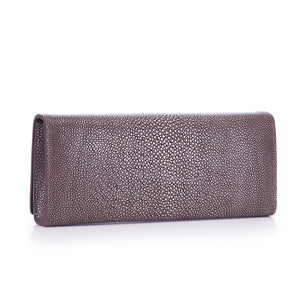 CLEO, shagreen clutch-Coffee