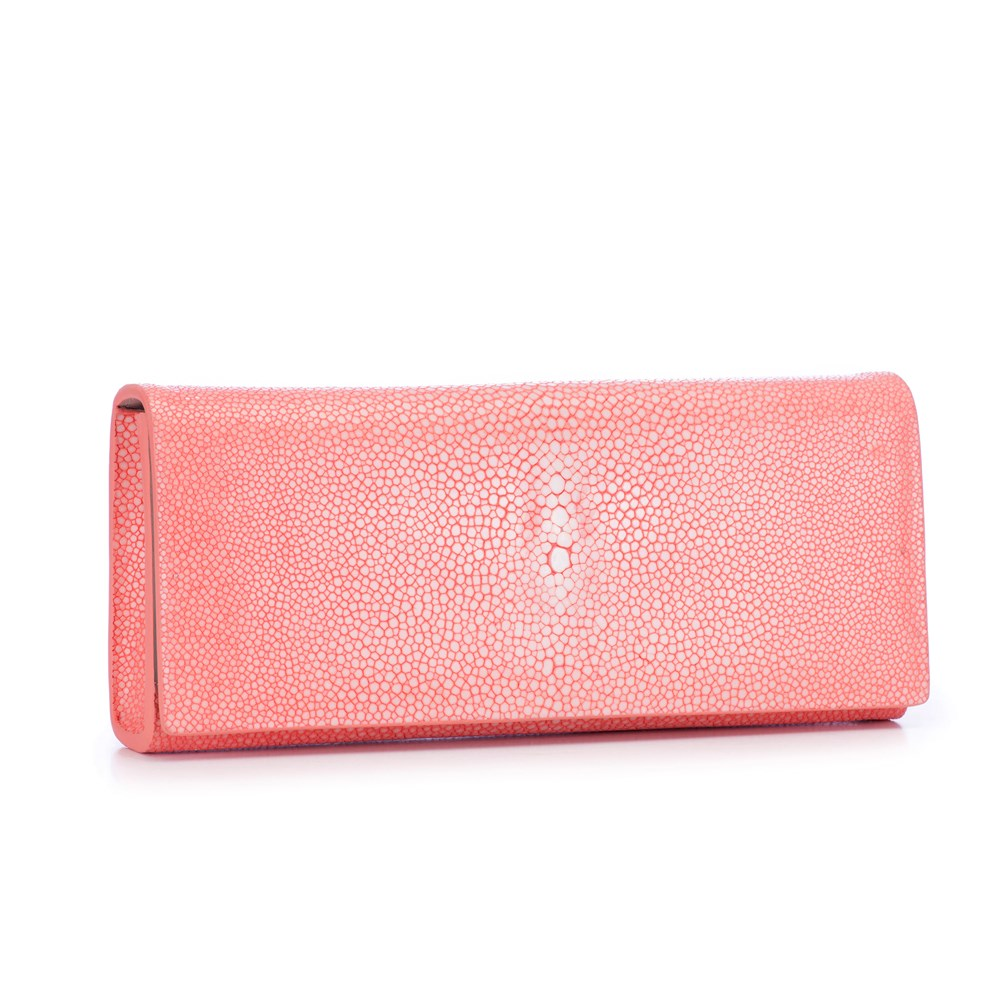 Coral Shagreen Clutch Bag Front View Cleo - Vivo Direct