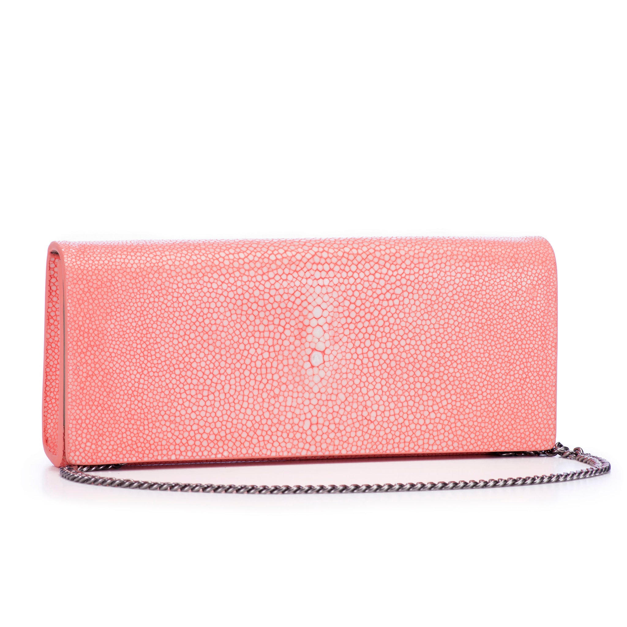 Coral Shagreen Clutch Bag Front View With Chain Cleo - Vivo Direct