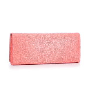 Coral Shagreen Clutch Bag Back View Cleo - Vivo Direct