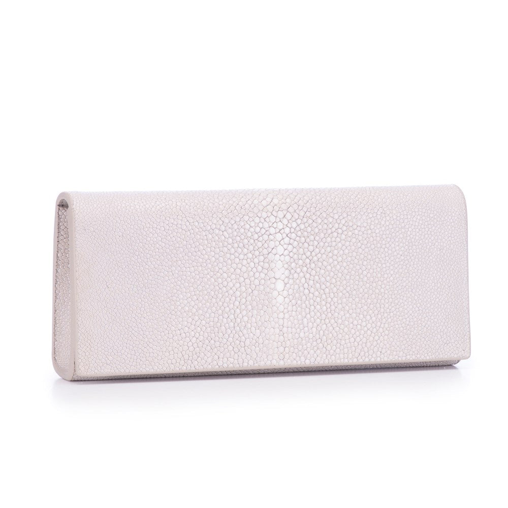 Fog Shagreen Clutch Bag Front View Cleo - Vivo Direct