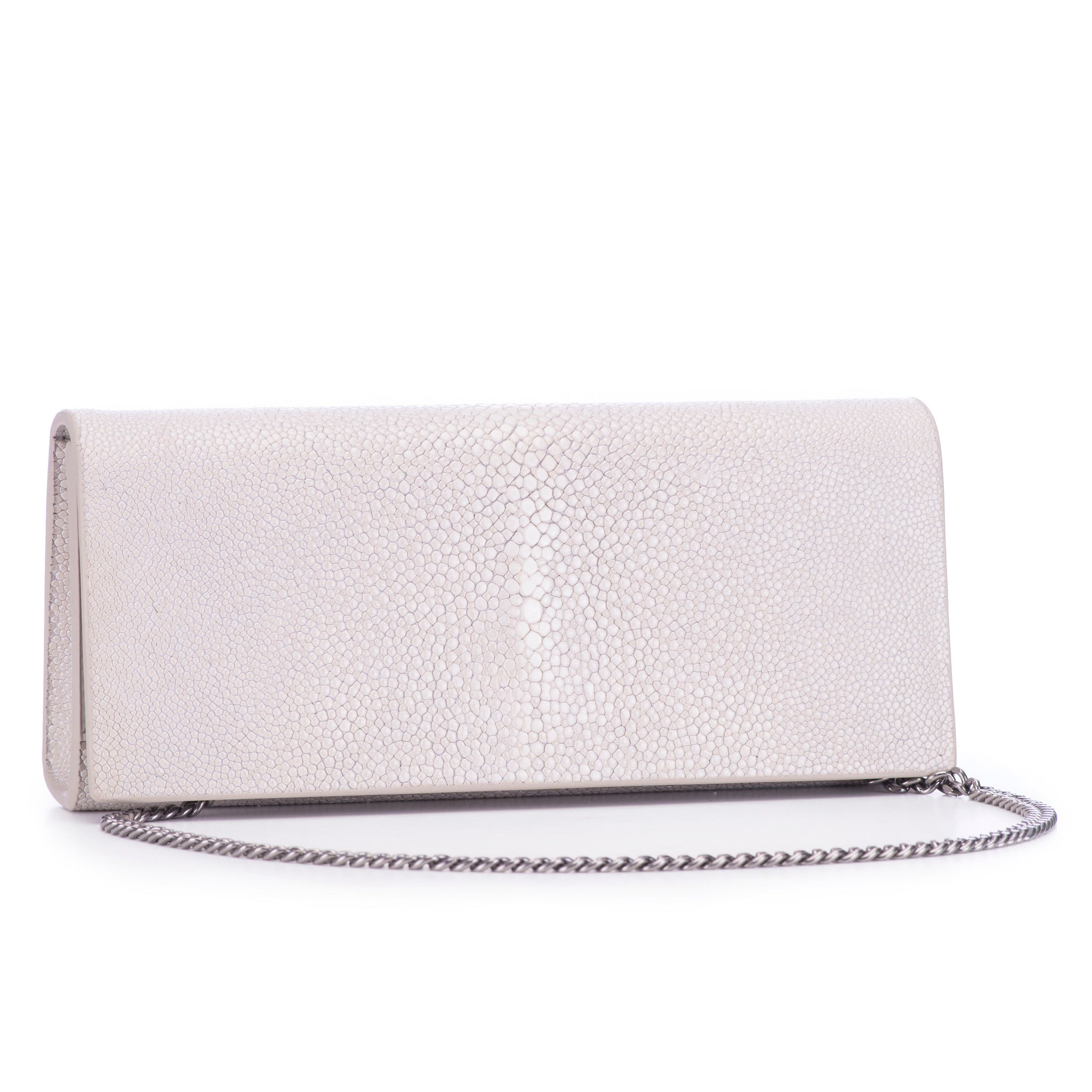 Fog Shagreen Clutch Bag Front View With Chain Cleo - Vivo Direct