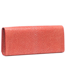 Load image into Gallery viewer, Hibiscus Shagreen Clutch Bag Back View Cleo - Vivo Direct