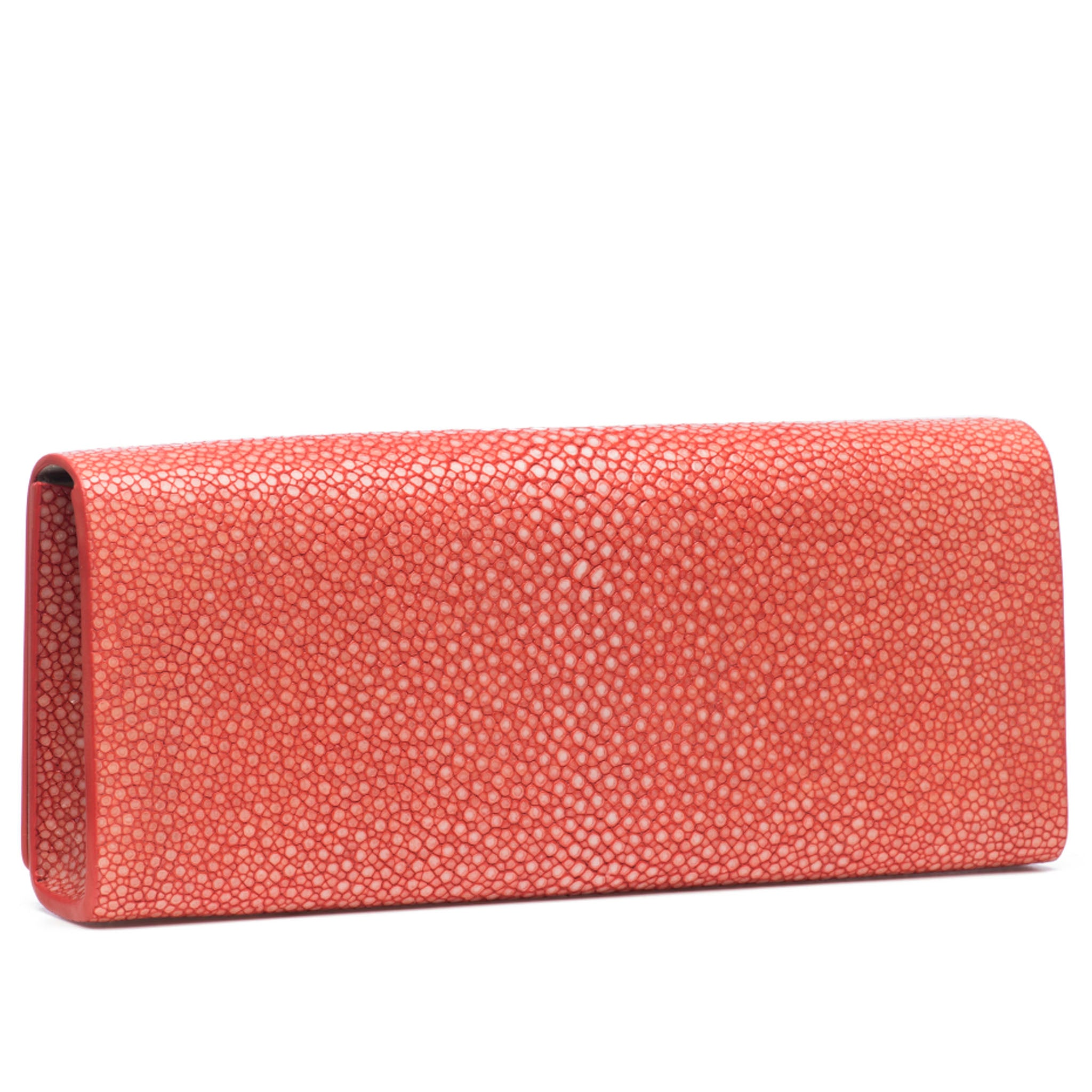 Hibiscus Shagreen Clutch Bag Back View Cleo - Vivo Direct
