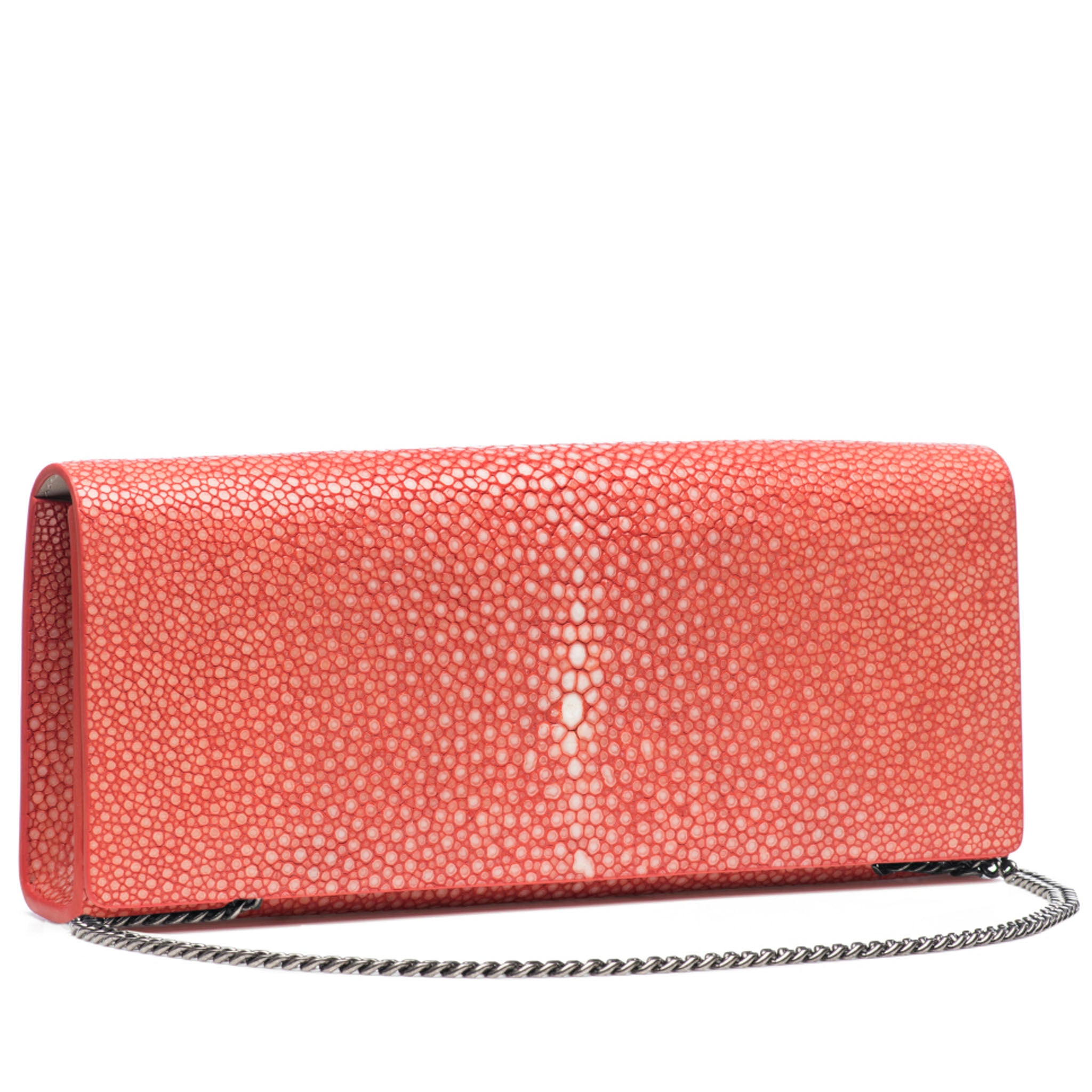 Hibiscus Shagreen Clutch Bag Front View With Chain Cleo - Vivo Direct