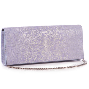 Iris Shagreen Clutch Bag Front View With Chain Cleo - Vivo Direct