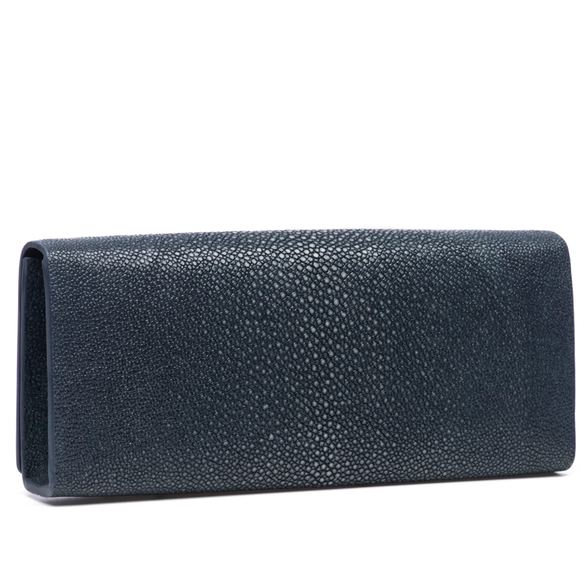Navy Shagreen Clutch BagBack View Cleo - Vivo Direct