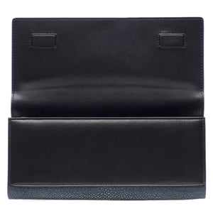 Navy Shagreen Clutch Bag Inside View Cleo - Vivo Direct