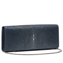 Load image into Gallery viewer, Navy Shagreen Clutch Bag Front View With Chain Cleo - Vivo Direct