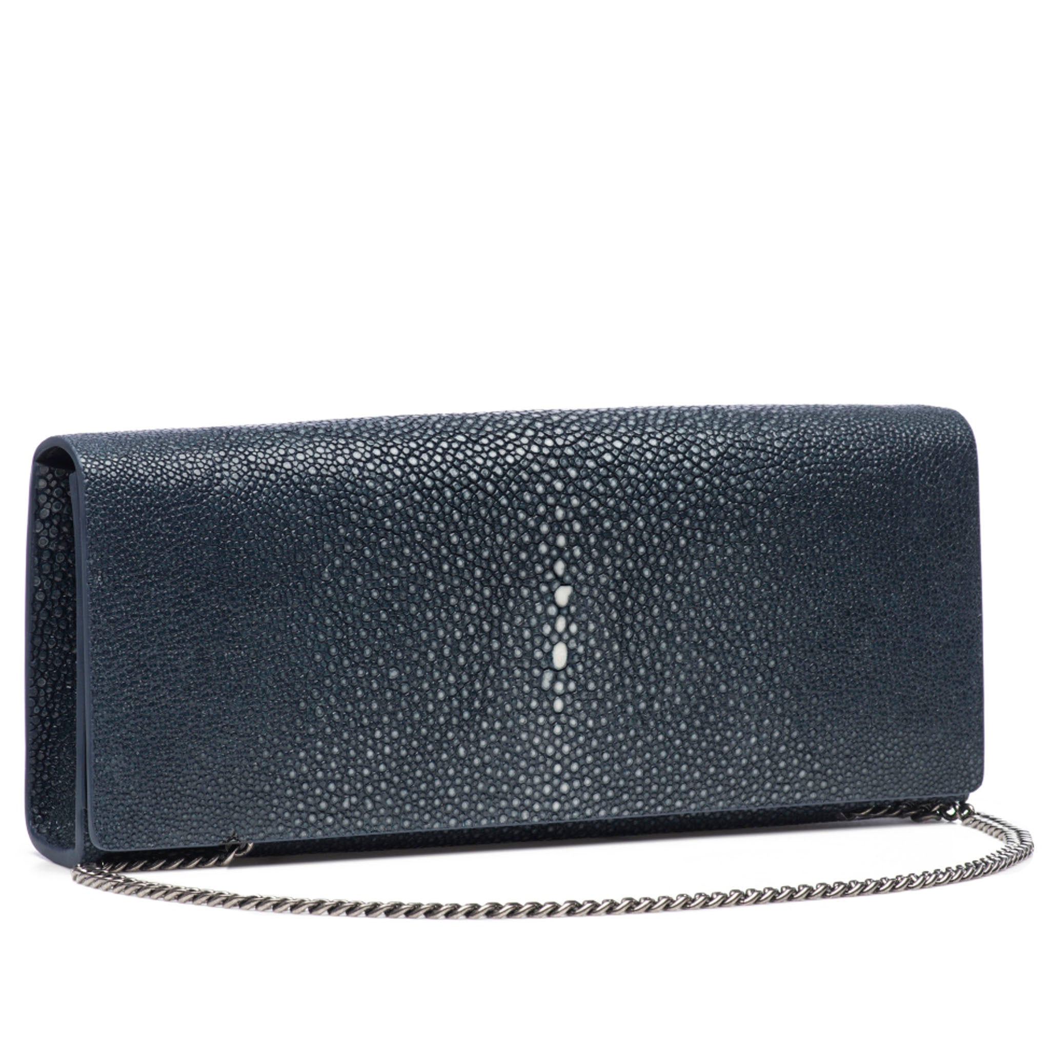 Navy Shagreen Clutch Bag Front View With Chain Cleo - Vivo Direct