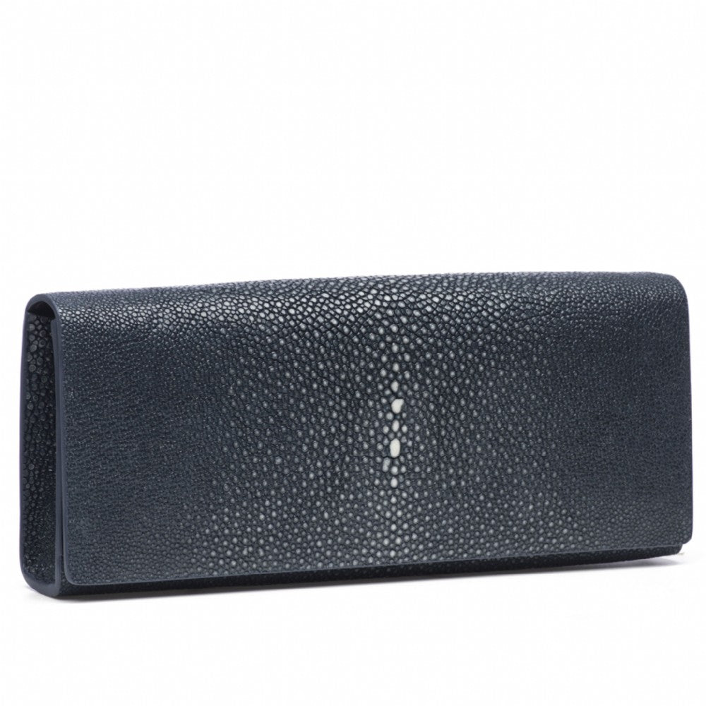 Navy Shagreen Clutch Bag Front View Cleo - Vivo Direct