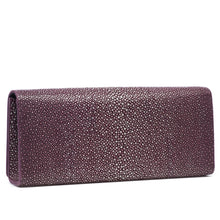 Load image into Gallery viewer, Plum Shagreen Clutch Bag Back View Cleo - Vivo Direct