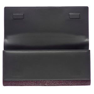 Plum Shagreen Clutch Bag Inside View Cleo - Vivo Direct