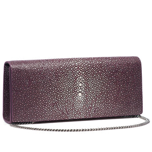 Plum Shagreen Clutch Bag Front View With Chahin Cleo - Vivo Direct
