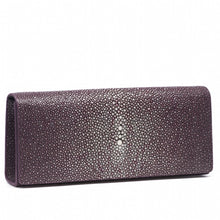 Load image into Gallery viewer, Plum Shagreen Clutch Bag Front View Cleo - Vivo Direct