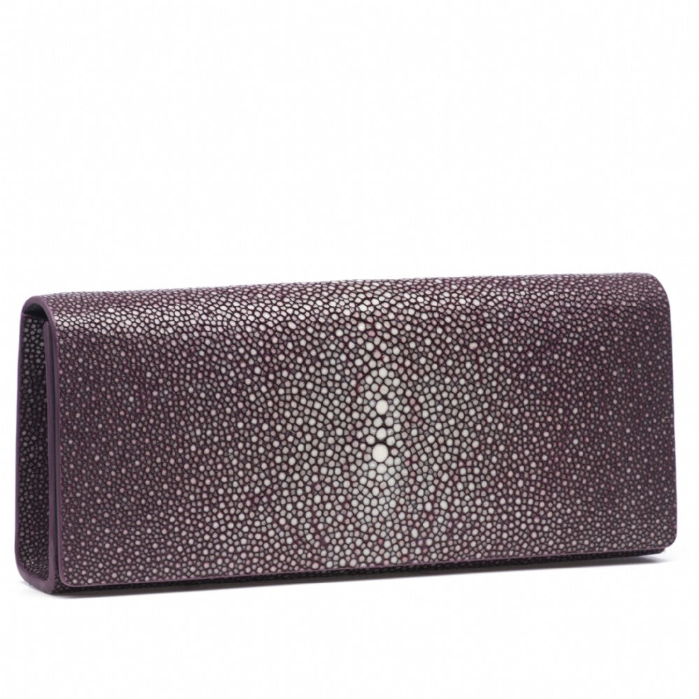 Plum Shagreen Clutch Bag Front View Cleo - Vivo Direct