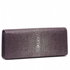 Cleo- Genuine shagreen clutch bag-Plum