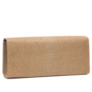 Putty  Shagreen Clutch Bag Back View Cleo - Vivo Direct