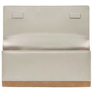 Putty  Shagreen Clutch Bag Inside View Cleo - Vivo Direct