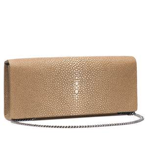 Putty  Shagreen Clutch Bag Front View With Chain Cleo - Vivo Direct