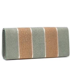 Putty And Cement  Stripe Shagreen Clutch Bag Back View  Cleo - Vivo Direct