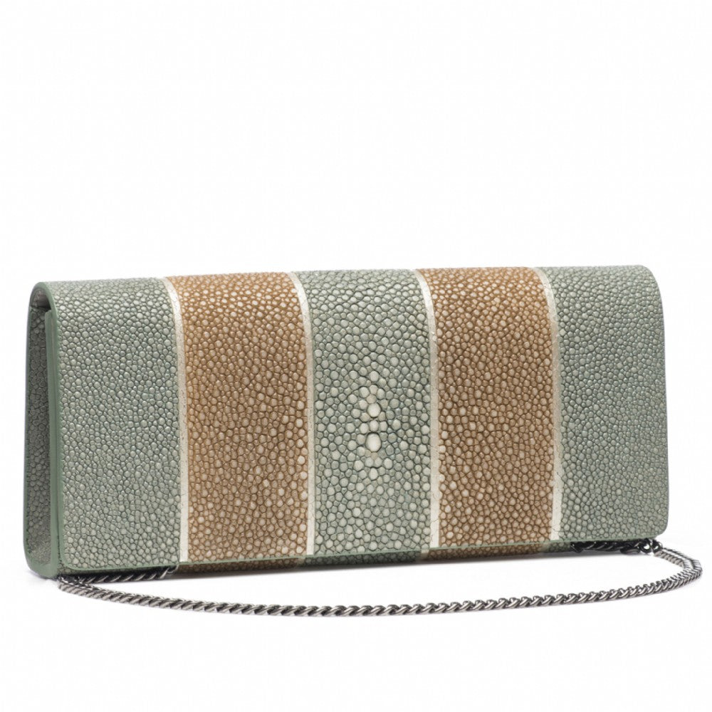Putty And Cement  Stripe Shagreen Clutch Bag Front View With Chain Cleo - Vivo Direct