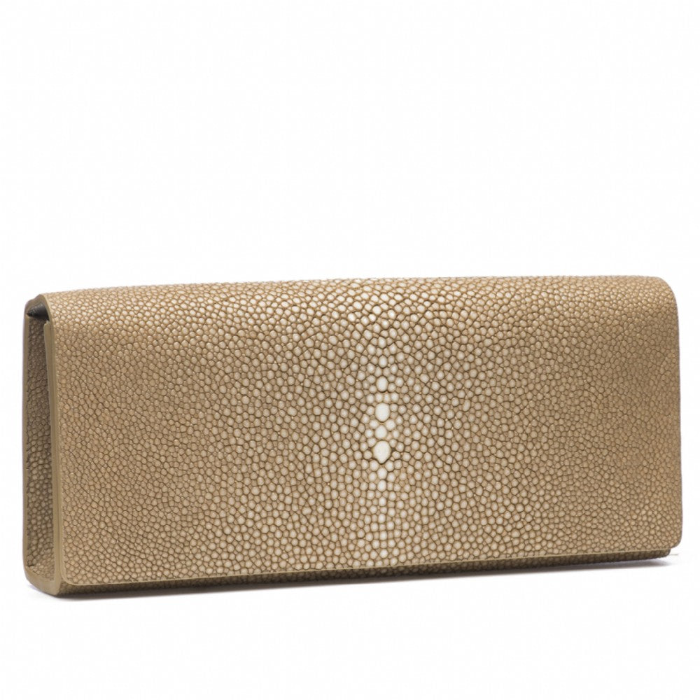 Putty  Shagreen Clutch Bag Front View Cleo - Vivo Direct