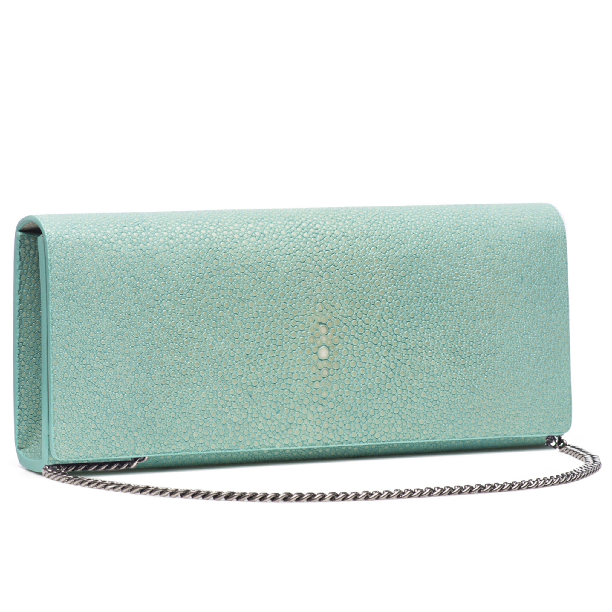 Sky Shagreen Clutch Bag Front View With Chain Cleo - Vivo Direct
