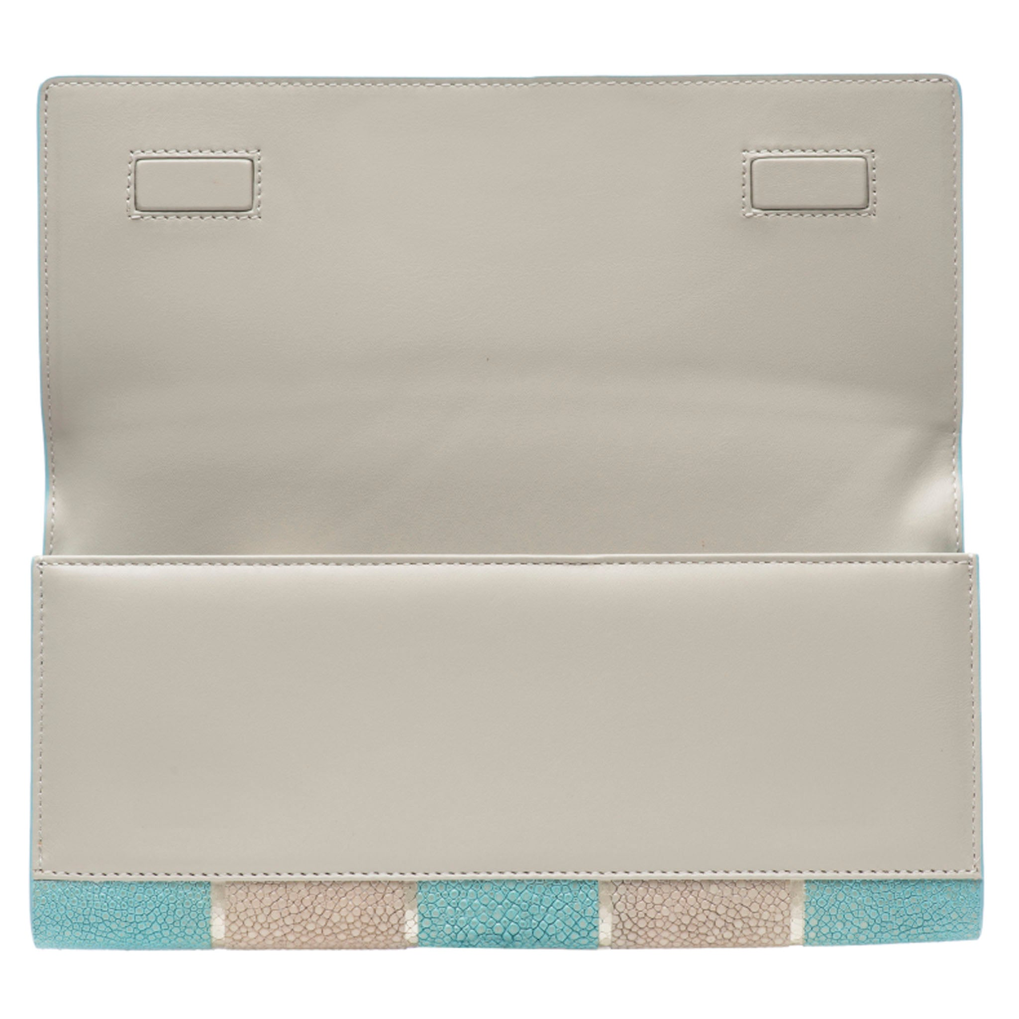 Sky And Cement  Stripe Shagreen Clutch Bag Inside View Cleo - Vivo Direct