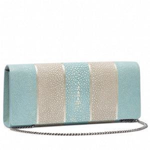 Sky And Cement  Stripe Shagreen Clutch Bag Front View With Chain Cleo - Vivo Direct