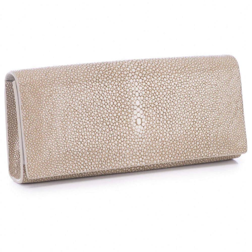 Taupe  Shagreen Clutch Bag Front View Cleo - Vivo Direct