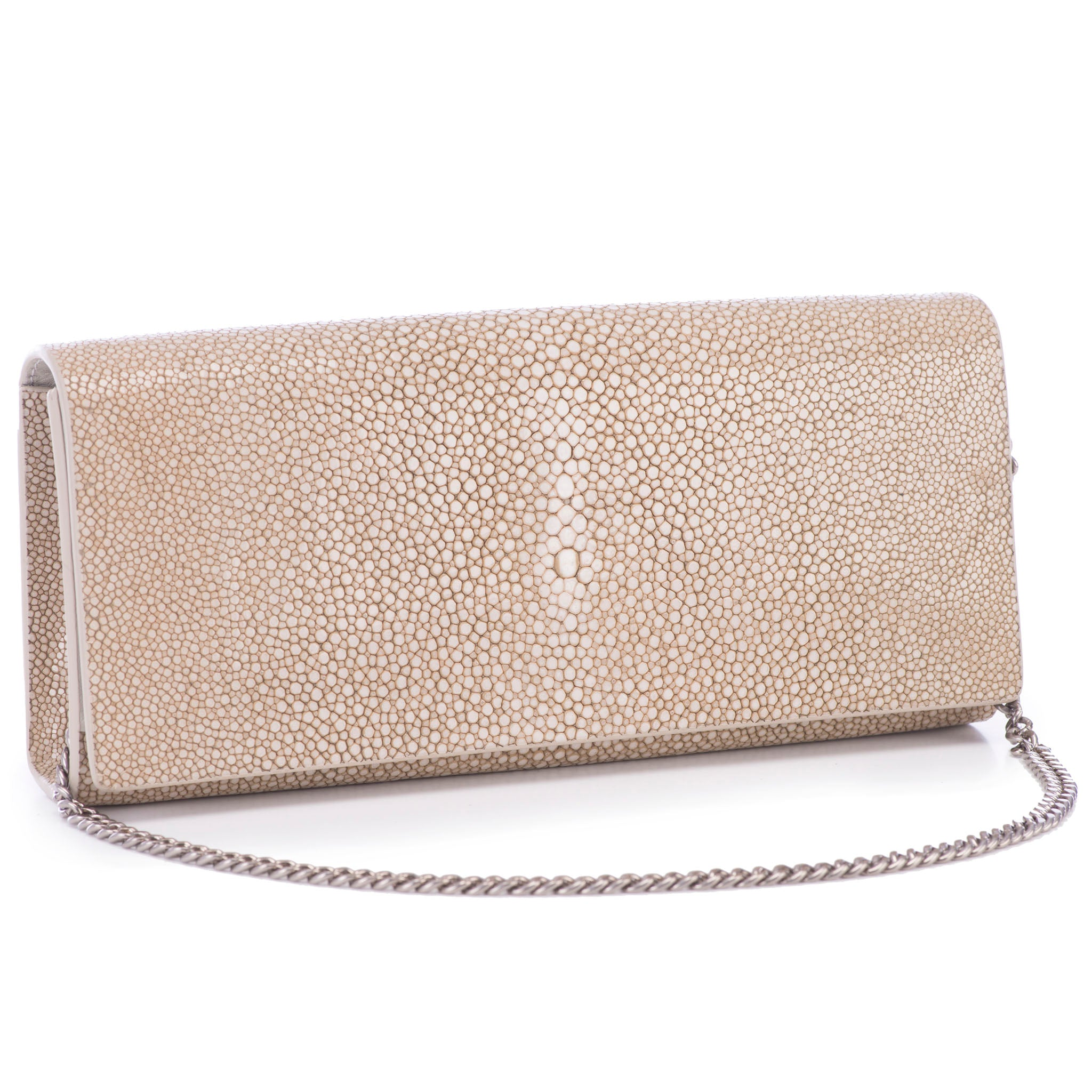 Taupe  Shagreen Clutch Bag Front View With Chain Cleo - Vivo Direct