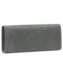 Load image into Gallery viewer, Gray Shagreen Clutch Bag Back View Cleo - Vivo Direct
