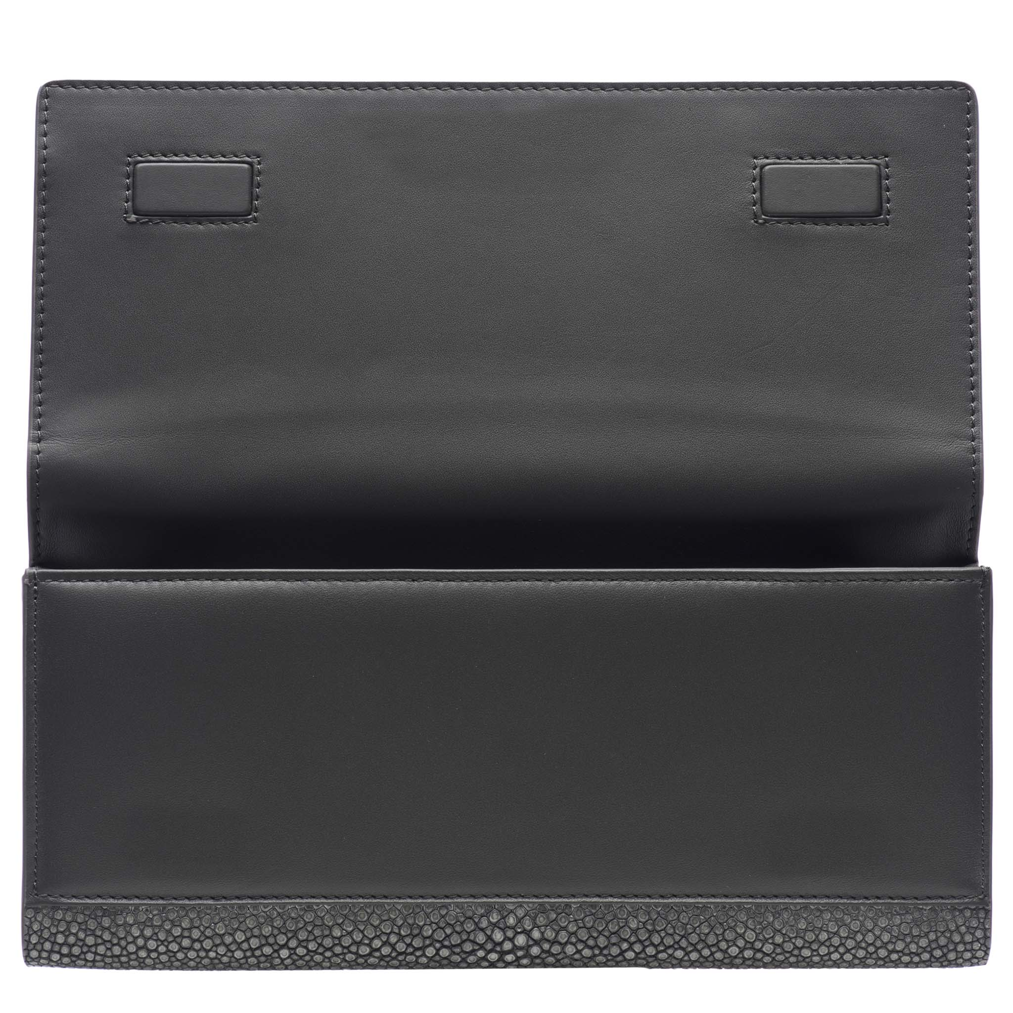 Gray Shagreen Clutch Bag Inside View Cleo - Vivo Direct