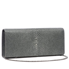Load image into Gallery viewer, Gray Shagreen Clutch Bag Front View With Chain Cleo - Vivo Direct