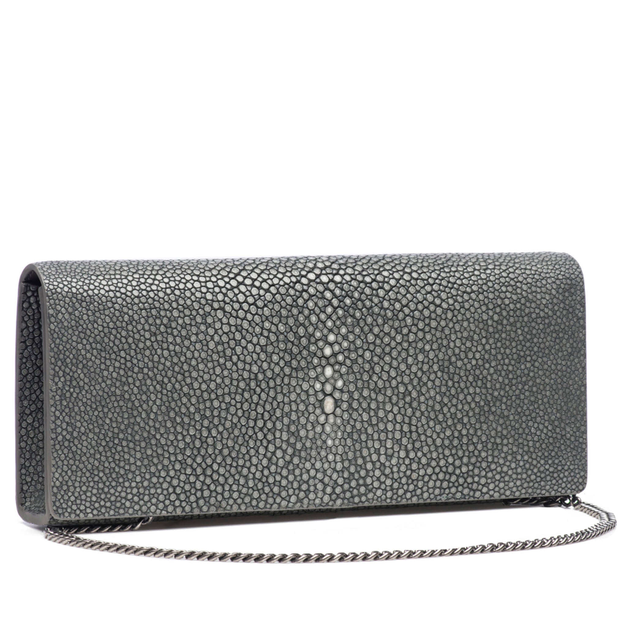 Gray Shagreen Clutch Bag Front View With Chain Cleo - Vivo Direct
