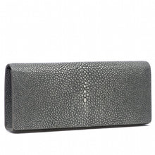 Load image into Gallery viewer, Gray Shagreen Clutch Bag Front View Cleo - Vivo Direct