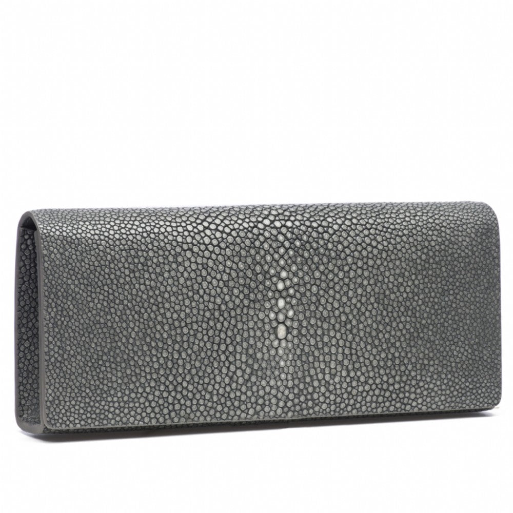 Gray Shagreen Clutch Bag Front View Cleo - Vivo Direct