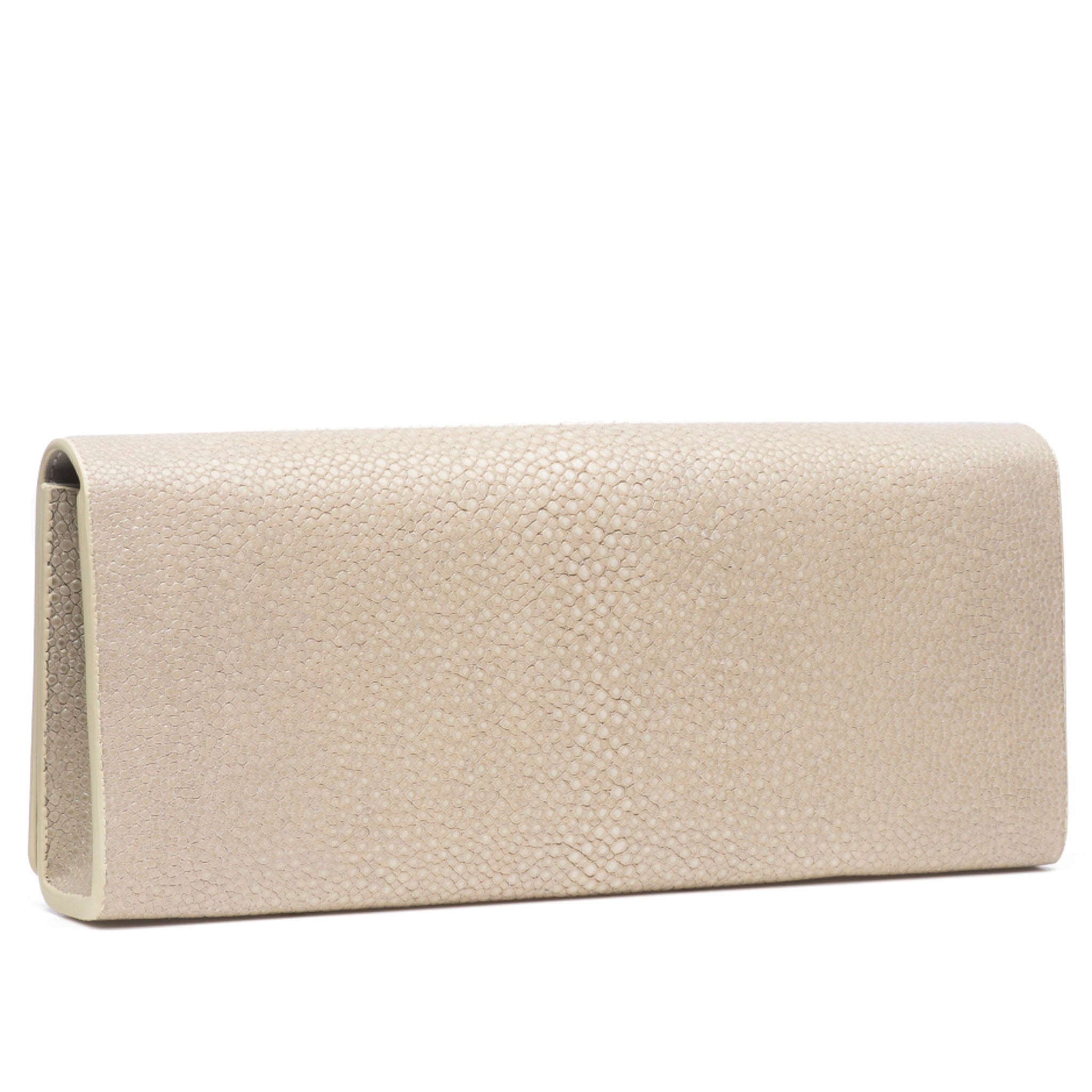 Wheat Shagreen Clutch Bag Back View Cleo - Vivo Direct