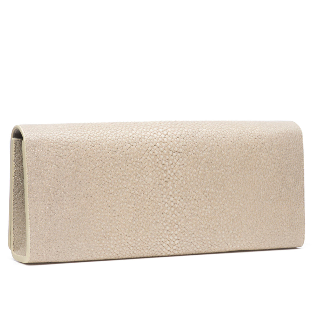 Cleo- Genuine shagreen clutch bag-Wheat