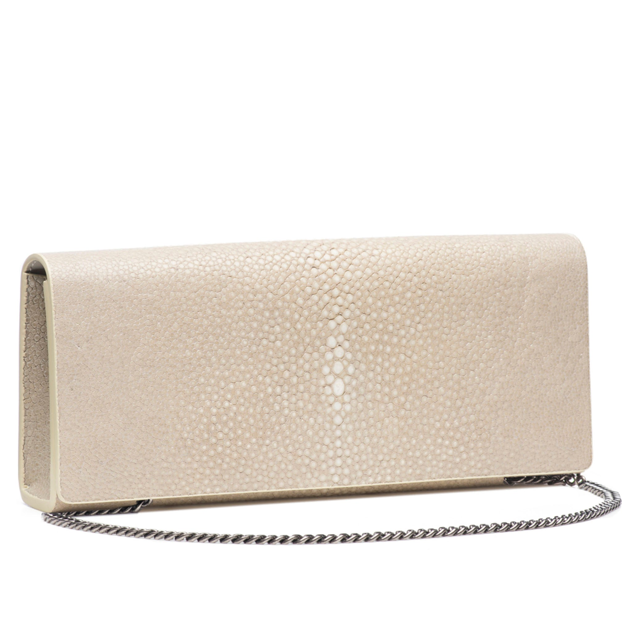 Wheat Color Shagreen Clutch Bag Front View with Chain Cleo - Vivo Direct
